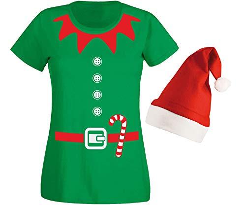 aprom Elfen Damen T-Shirt in Kostüm Form mit Elfen Design & Roter Mütze Weihnachten Nikolaus Gruppenkostüm Karneval X-Mas Elfenkostüm GR (XS)