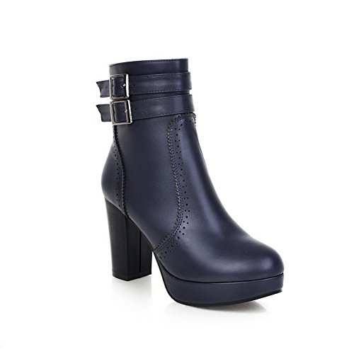 VogueZone009 Damen Blend-Materialien Reißverschluss Hoher Absatz Niedrig-Spitze Stiefel, Weinrot, 35