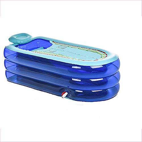 Tragbare aufblasbare Badewanne, PVC-Kinderpool-Bad-Ansatz-Kissen-Entspannungs-Pool-faltbarer Badekurort-erwachsener Jacuzzi, blau, rot (Color : Blue)