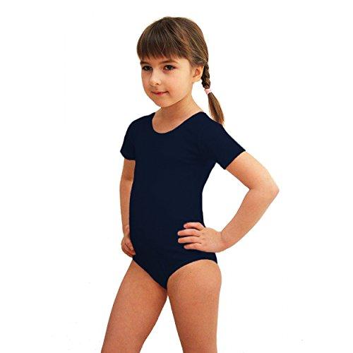 Mädchen Ballettanzug Kurzarm Body Gymnastikanzug Turnanzug Ballett Trikot Tanz Gymnastik, Farbe: Dunkelblau, Größe: 146