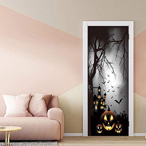 TACBZ 3D Horror Manor Halloween 90X200 Cm Simulation Tür Wandbild Kunst Diy Tür Aufkleber Wohnzimmer Schlafzimmer Hotel Kindergarten Pvc Vinyl Dekorative Tür Wandaufkleber