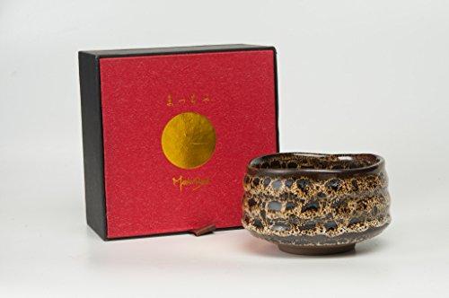 Handgefertigte Matcha-Schale Hyo Matcha Schale aus Keramik mit Leopardenmuster in Geschenkverpackung (schwarz / weiß / gelb)