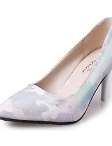 GS~LY Damen-High Heels-Lässig-PU-Stöckelabsatz-Absätze-Blau / Weiß white-us6.5-7 / eu37 / uk4.5-5 / cn37