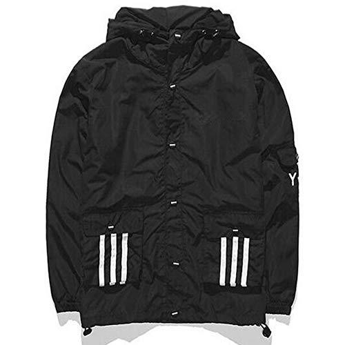 GUTSBOX Unisex Winterjacke Wintermantel Jacke Outwear Winter Warm Arbeiten Sie Festen beiläufigen dickeren dünnen Mantel um Windjacke Kapuzenjacke Streetwear Reißverschluss Jacke(Schwarz-2, M)