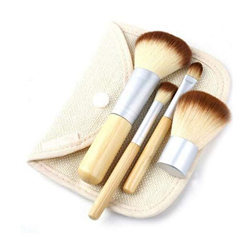 4 Pcs Bambou Maquillage Brosse Ensemble Professionnel Visage Ombre À Paupières Fondation Eyeliner Blush Lèvres Brosses Poudre Liquide Crème Cosmétique Mélange Outil (Beige)