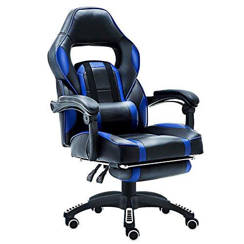 Gaming Leder Executive Computer-Schreibtisch Stuhl Home Office Drehstuhl höhenverstellbar Ergonomische Fußstütze Liege mit Lenden-Kissen und gepolstert Gaming Stuhl mit Massage Sessel für Computer