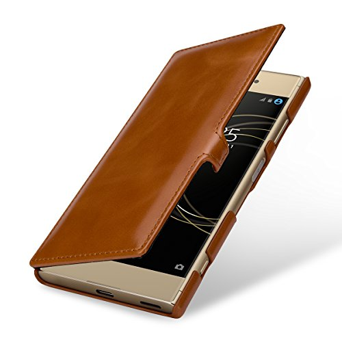 StilGut Leder-Hülle für Sony Xperia XA1 Plus Book Type, Cognac Clip