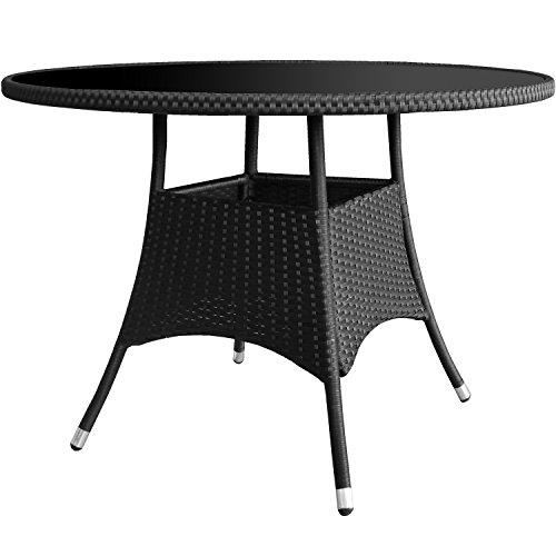 Rattan tisch for Kleiner glastisch rund