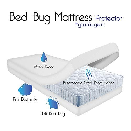 Impermeable AntiAllergy carcasa completa funda de colchón con cremallera protector de pantalla para ácaros, bacterias, bichos, doble