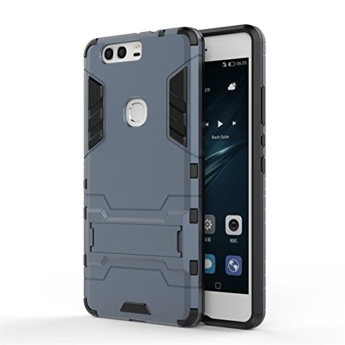HUAWEI P9 Plus Abdeckung, 2 in 1 neue Rüstung Tough Style Hybrid Dual Layer Defender PC Hard Back Abdeckung mit Ständer Shockproof Case ​​Für HUAWEI P9 Plus ( Color : Gray , Size : HUAWEI P9 Plus ) Blue