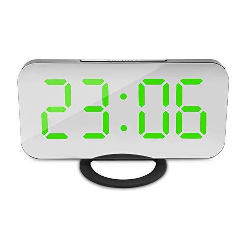 Grün-desktop-speicher (NZYDHK Spiegel LED Wecker Snooze Nachtlicht LCD Display Dual USB Ladeanschluss Speicher Einstellbare Helligkeit Desktop Uhr Grün)