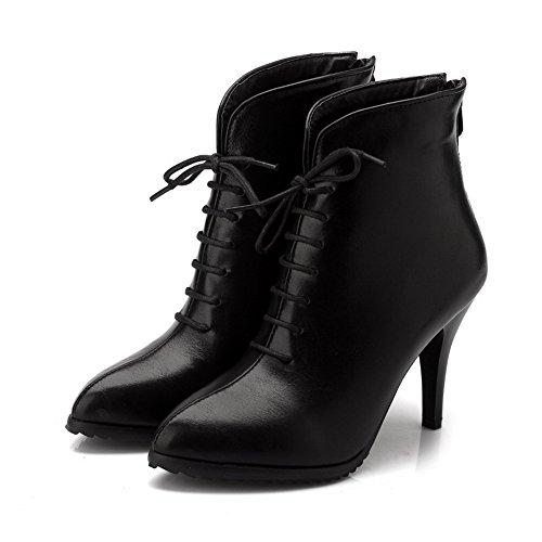 AllhqFashion Damen Hoher Absatz Weiches Material Reißverschluss Niedrig-Spitze Stiefel, Schwarz, 36