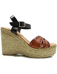 Raquel Perez Ines Scarpe Donna Sandali Sabot Zeppa Alta Arancio Multi gallo-calzature neri Estate
