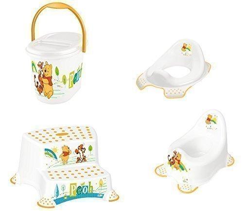 Set Z Winnie Pooh blanc en 4 pièces: Réhausseur WC + Pot Bébé + Tabouret à deux niveaux + Sceau à couches