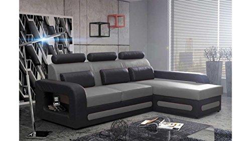 JUSTyou Bergamo Mini Canapé d'angle Sofa canapé lit Simili Cuir (HxLxl): 98x270x180 cm Noir Gris Angle Droit