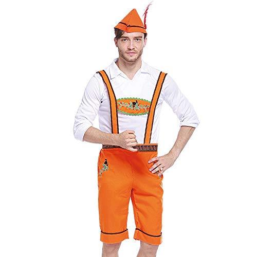 ZHANSANFM Oktoberfest Bayerisches Bierfest Kostüm Bühnenanzug Erwachsene Halloween Cosplay Wildleder Trachtenhose Weihnachtsfeier Kleid Sommerkleid Party karnevalskostüme (XL, Orange) (Qualitäts Erwachsene Kostüme)