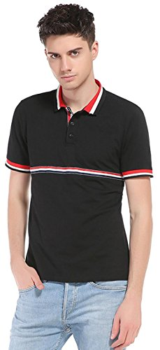 Sportides Mens Leisure Pocket Polo Shirt Short Sleeve T-Shirt Tops JZA026 JZA069_Black