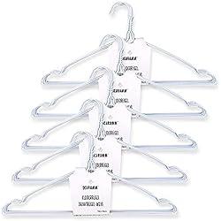 Schramm® Lot de 50 cintres en Fil de Fer Blanc avec Encoche pour cintres en métal
