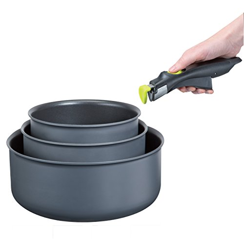 OGO 7930020 Set of 3 Pans with Removable Handles Aluminium/Stainless Steel Charcoal Grey 16 cm/18 cm/20 cm