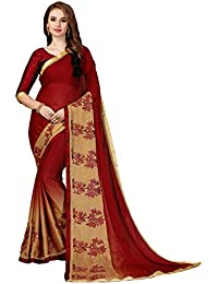 7f74137da5c Clotham Women s Rangoli Silk Saree With Blouse Piece (Beige   Maroon)