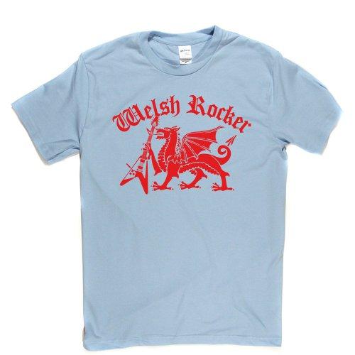 Welsh Rocker Wales Rock Lifestyle Music Tee T-shirt Himmelblau
