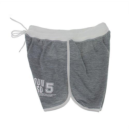 Shorts de Plage Piscine Haute Taille Hot Pants Eté Elégant Pantalons Courts Causal Maillot de Bain Loisir Short de Yoga Surf Course Voyage Sport pour Femmes Filles Gris