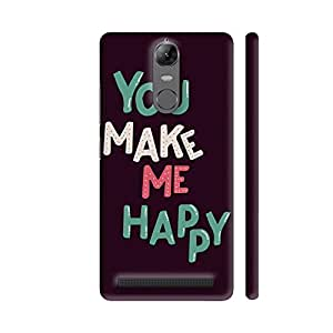 Colorpur Lenovo K5 Note Cover - You Make Me Happy On Black Printed Back Case