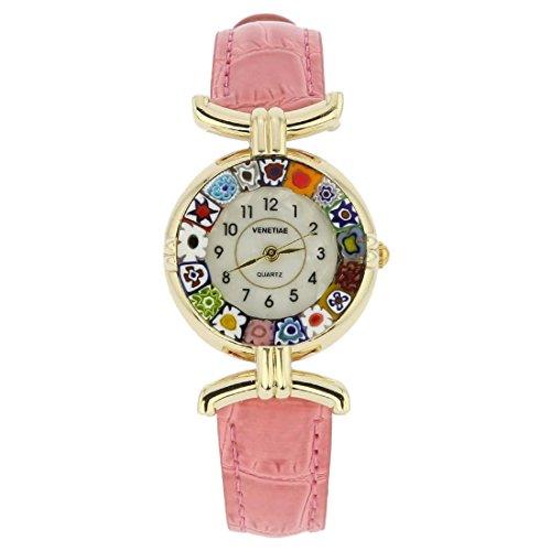 Cristal de Murano Millefiori reloj con banda de piel–Rosa