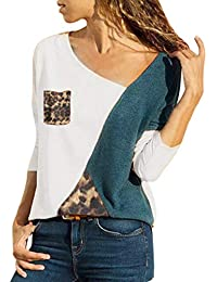 2048386396e7 Mode Femme Casual Col Rond Couleur Patchwork Pullover Chic Manches Longues  Slim T Shirt Tops