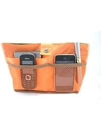 Periea - Sac de rangement/Pochette/Organisateur intérieur pour sac à main , 12 poches, Réversible 27x16x7cm - Kendra orange