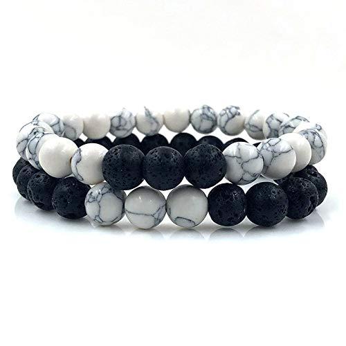 WDAIJY Damen Armband,Einstellbare 2 Pcs/Viel Armbänder Armreifen Set Natürliche Lava, Stein Weiß Schwarz Flechten Macrame Bracelet Für Frauen Männer