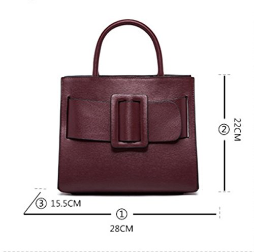 Donne Genuine Leather Retro Di Grande Capacità Borsa A Tracolla Piazza Buckle Borsa. Red