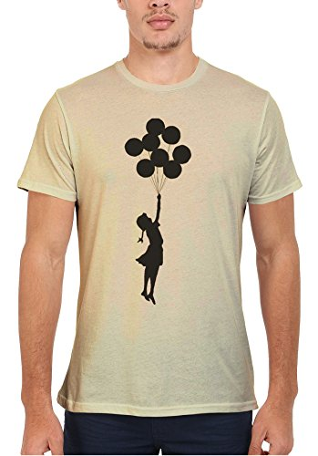 Banksy Balloon Girl Cool Funny Men Women Damen Herren Unisex Top T Shirt Sand(Cream)