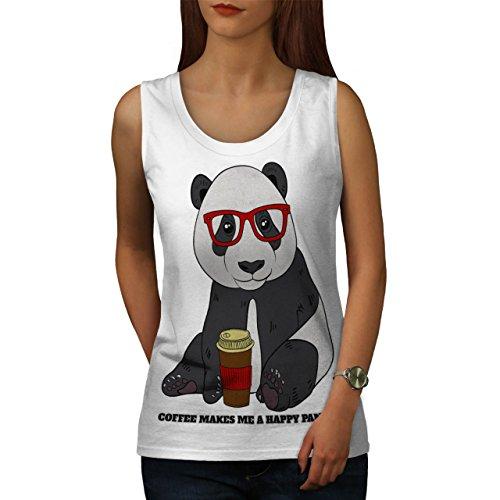 Kaffee Glücklich Panda Tier Hipster Bär Damen Schwarz S-2XL Muskelshirt | Wellcoda Weiß