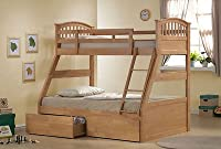 OAK Three Wooden Bed / Triple / 3 Sleeper Bunk Bed in Oak Wood With Drawers