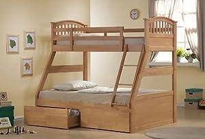 OAK Three Wooden Bed / Triple / 3 Sleeper Bunk Bed in Oak Wood With Drawers
