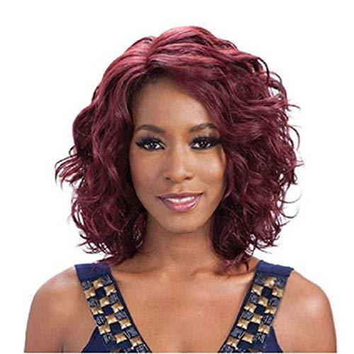 Kurze gewellte rote Kunsthaar Ersatz Perücken für Frauen Womens günstige Seitenteil natürliche gewellte halbe Perücken Kostüme Cosplay Faser Haar Perücken