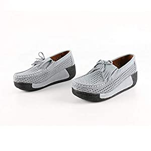 Yao Fashionable Summer Solid Color Women Soft Leather Shoes Comfortable Shoes Gray 40