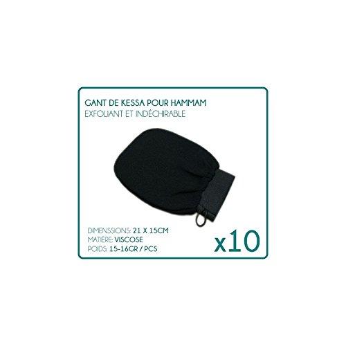 Desineo Lot de 10 Gants de Kessa pour Hammam Noir exfoliants Gommage