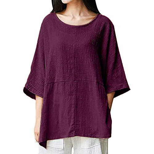 Übergröße Langarm Shirt Damen beiläufige Lose Kurzarm Rundkragen Baumwolle Leinen Tops Shirts Bluse MYMYG Vintage Bluse Fest Hemd Lang Tops (Lila,EU:38/CN-L)