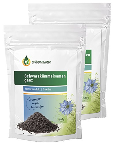 Schwarzkümmelsamen ganz • 1000g • 100% Rein • Premiumqualität • Nigella Sativa • Kochen und Backen • in wiederverschließbaren Frische-Beutel (2 x 500g) (Nigella Samen)