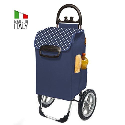 XXL Einkaufstrolley Kiley mit extra großen Rädern in blau mit 78L - Großer Transport-Wagen Trolley mit leisen Gummi Rädern - Einkaufsroller bis 50kg belastbar inkl. 7 Außen-Taschen