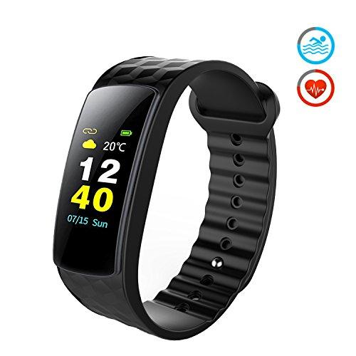 Color Fitness Armband,Antimi Wasserdicht IP67 Fitness Tracker Herzfrequenzmonitor Zeige Temperatur Wetter Schrittzähler Kalorienzähler Uhr Pulsuhren für Android iOS smartphones