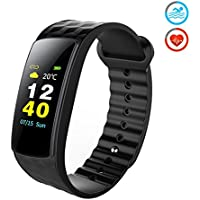 Antimi Fitness Tracker,Color Screen Display Waterproof Sports Smart Watch Wristband with Heart Rate Monitor, Activity Tracker Pedometer for iOS & Android