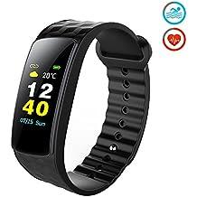Pulsera Actividad, Antimi Pantalla a Color Fitness Tracker Reloj Inteligente Ritmo Cardiaco & IP67 Deportes de Natación, Actualización de la Temperatura del Tiempo, Podómetro, Calorías, ,Mensaje de Alerta, Monitor de Sueño de Teléfonos con Android iOS para Niños Hombre Mujere de Kungber