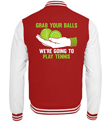 Shirtee Grab Your Balls We're Going to Play Tennis - College Sweatjacke -XL-Rot-Weiss