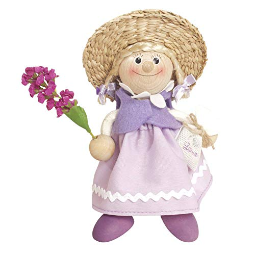 Woudi Holz Frühlingsfigur 16cm Frau mit echtem Lavendel Lavendula Kantenhocker Kantensitzer Springfigur