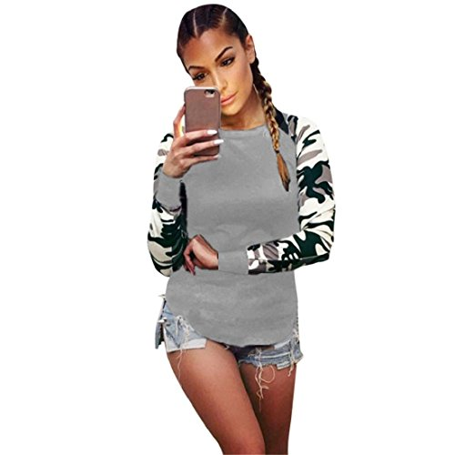 PAOLIAN Damen Herbst Winter Tarnungs Rundhals Langarm Sweatshirt Pullover Oberbekleidung lange Hülse Plus Größe Camouflage Pullover Oberseiten Bluse Tops (S, Grau) (Camouflage Kostüm)