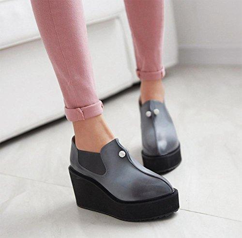 delle donne sceglie i pattini scarpe retrò con le suole spesse zoppi signora Pearl scarpe focaccina ascensore scarpe a punta Grey