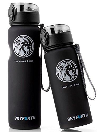 SKYFORTH Trinkflasche im 2-er Set schwarz I Sportflasche 1l und Wasserflasche 650 ml I BPA frei, auslaufsicher, spülmaschinenfest, Wasser Flasche aus Tritan I Trinkflaschen für Sport, Fitness,Fahrrad